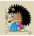 The hedgehog is a tailor vector image vector image