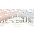vienna austria city skyline in paper cut style vector image vector image