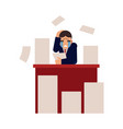 young businessman overworked with documents - male vector image vector image