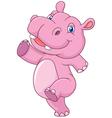 Cartoon cute baby hippo running and happy vector image
