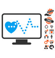 cardio monitoring icon with dating bonus vector image