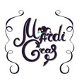 mardi gras hand lettering jester hat decor for vector image