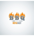 barbecue fire logo design background vector image