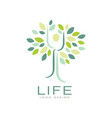 abstract life logo design with green leaves