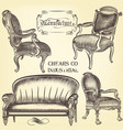 antique set of hand drawn chairs in vintage style vector image vector image