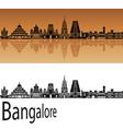 Bangalore skyline in orange vector image vector image