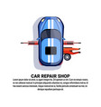 car repair shop service with maintenance worker vector image