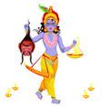 choti diwali and krishna with narak chaturdashi vector image