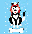 christmas a dog in a hat and vector image vector image