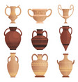 Clay jug ancient amphora with pattern greek cup