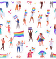 colorful pride parade seamless pattern crowd of vector image