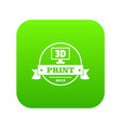 cube 3d printing icon green vector image vector image