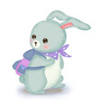 cute blue bunny going to school vector image