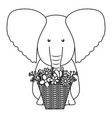 elephant with floral basket bohemian style vector image vector image