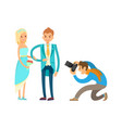 engagement ceremony newlywed couple photographer vector image vector image