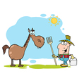 Farmer with horse vector | Price: 1 Credit (USD $1)