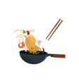 flat asian wok with flying ingredients vector image vector image