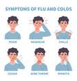 flu symptoms common cold and symptoms vector image