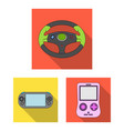 game console and virtual reality flat icons in set vector image vector image