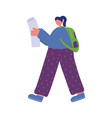 girl walking with map and backpack isolated icon vector image