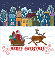 Greeting with with santa and houses vector image