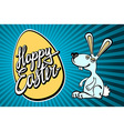 happy easter bunny with giant egg vector image