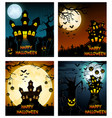 happy halloween banner set with scary tree and cas vector image vector image