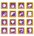 internal human organs icons set purple square vector image vector image