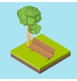 Isometric 3D icon Pictograms bench on the grass vector image