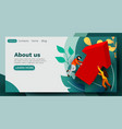 landing page business team with growing arrow vector image vector image