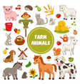 large collection colorful farm animal icons vector image