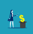magician making money from magic hat business vector image vector image