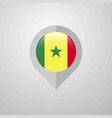 map navigation pointer with senegal flag design vector image