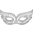 mardi gras mask - outline isolated element vector image