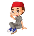 Muslim boy pointing the finger vector image