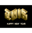 New Year 2016 gold isometric 3d greeting card