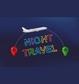 night travel travel banner with aircraft and vector image vector image