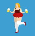 oktoberfest girl and beer mug national beer vector image