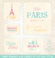 Paris Greeting Card Design Elements vector image vector image