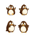 penguins showing emotions animal isolated icons vector image