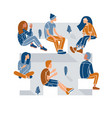 people sitting in a circle during a meeting vector image vector image