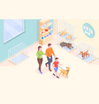 pet adopt family takes dog from animal shelter vector image vector image