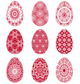 Red Easter eggs with floral pattern vector image vector image