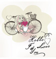 romantic card with toy rabbit and bicycle vector image vector image