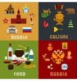 Russian travel and culture flat icons vector image vector image