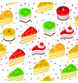 seamless background with fruit cakes and sweets vector image vector image