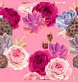 Seamless pattern with succulents and roses