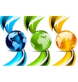 set banners with globes vector image vector image