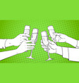 sketched hands group clinking glass of champagne vector image vector image