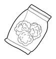 Small bag with buds of medical marijuana icon vector image